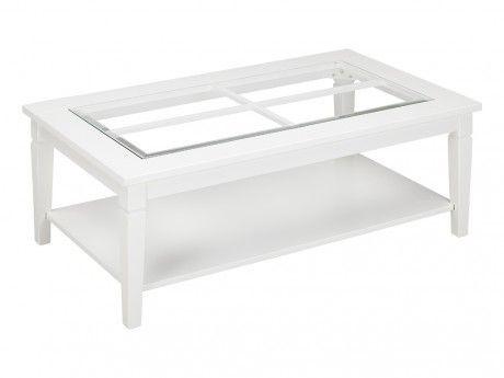 VENTE-UNIQUE Table basse GUERANDE - Pin blanc et verre trempé