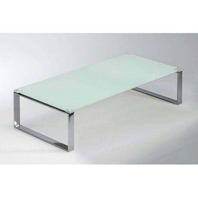 Inside 75 Table basse Miami en verre blanc