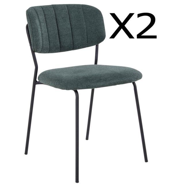 Pegane Lot de 2 chaises de salle à manger en tissu vert foncé et métal noir - 57 x 49 x 80 cm