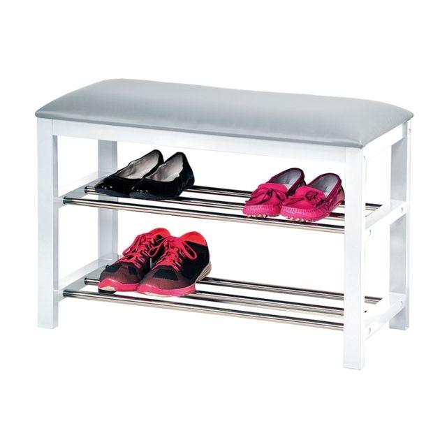 banc chaussures avec coussin pour l 39 entr e meuble de rangement blanc pas cher achat. Black Bedroom Furniture Sets. Home Design Ideas