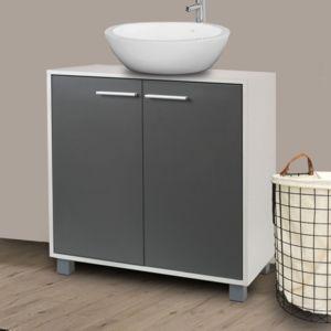 idmarket meuble sous lavabo gris pour vasque de salle de bain pas cher achat vente meuble. Black Bedroom Furniture Sets. Home Design Ideas