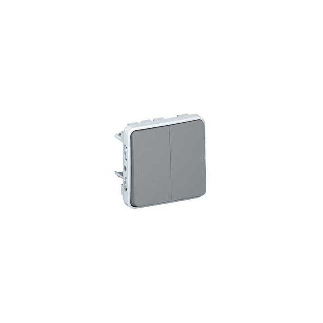 Legrand - bouton poussoir double - plexo 55 - gris - composable