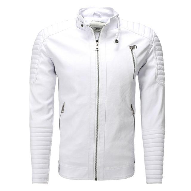 FREESIDE - Blouson cuir pour homme Veste tendance 543 blanc - pas ... ea6cd4bd1f7