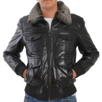 Eagle Square - Blouson Aviator cuir noir