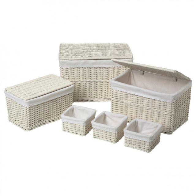 paris prix lot de 3 malles 3 paniers en osier notes po tiques blanc pas cher achat. Black Bedroom Furniture Sets. Home Design Ideas