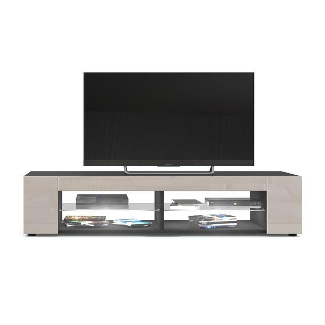 Mpc Meuble Tv Noir mat Façades en Gris Sable laquées led Blanc