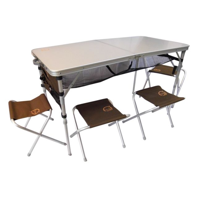 O 39 camp set table valise et 4 tabourets pas cher achat vente table de camping rueducommerce - Table camping valise carrefour ...