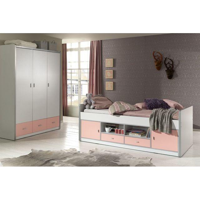 Comforium Ensemble lit combiné 90x200 et armoire 3 portes 3 tiroirs pour chambre enfant coloris blanc et rose