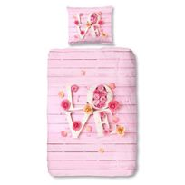 Good Morning - Parure de Couette Love - 1 housse de couette 140x200 cm + 1 taie 60x70 cm rose