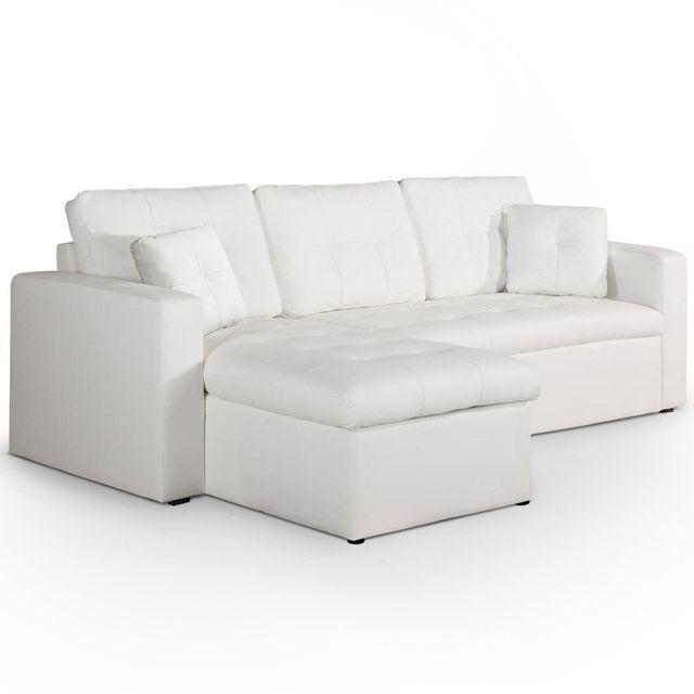 Canapé d'angle gauche convertible Blanc