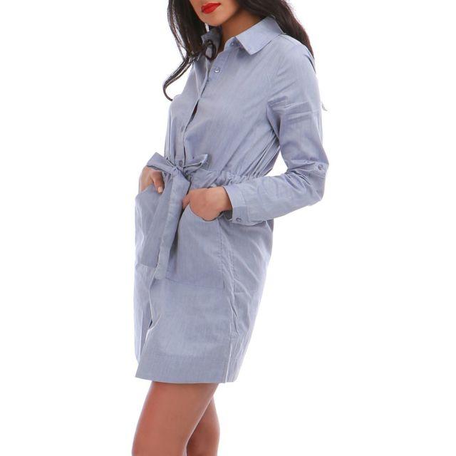 Lamodeuse - Robe chemise bleue avec ceinture Gris - pas cher Achat ... 7ad22643aa6