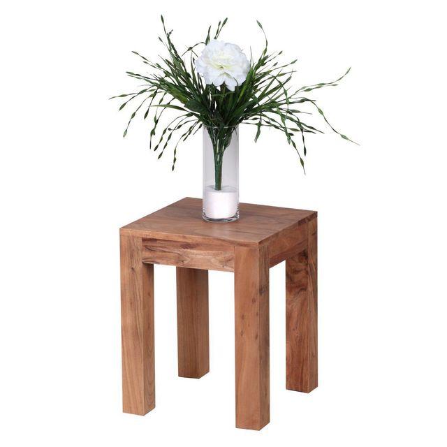 COMFORIUM Table d'appoint carrée 35x35cm en bois massif coloris acacia