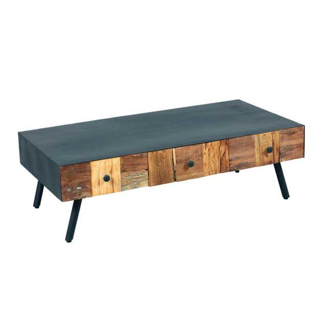 Tousmesmeubles Table basse 3 tiroirs Acier noir/Bois massif - Chalerston