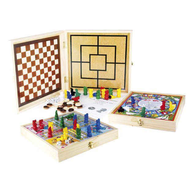 smir coffret bois jeux de soci t 100 jeux pas cher achat vente les grands classiques. Black Bedroom Furniture Sets. Home Design Ideas
