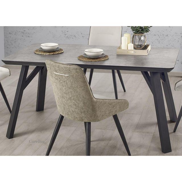 Carellia Ensemble table à manger rectangulaire L : 160 cm x P : 90 cm x H : 76 cm + 4 chaises