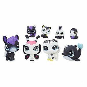 hasbro petshop littlest petshop coffret 4 minis petshop avec 4 teensies noir et blanc pas. Black Bedroom Furniture Sets. Home Design Ideas
