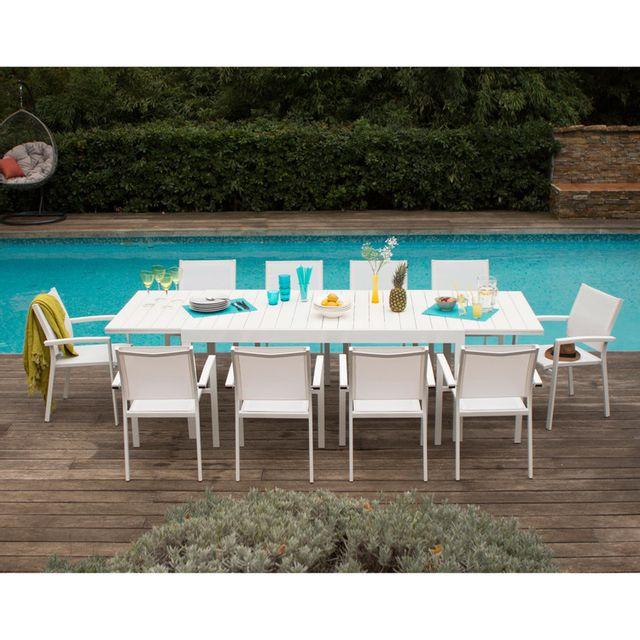 Kaligrafik - Salon de jardin aluminium et composite Blanc ...