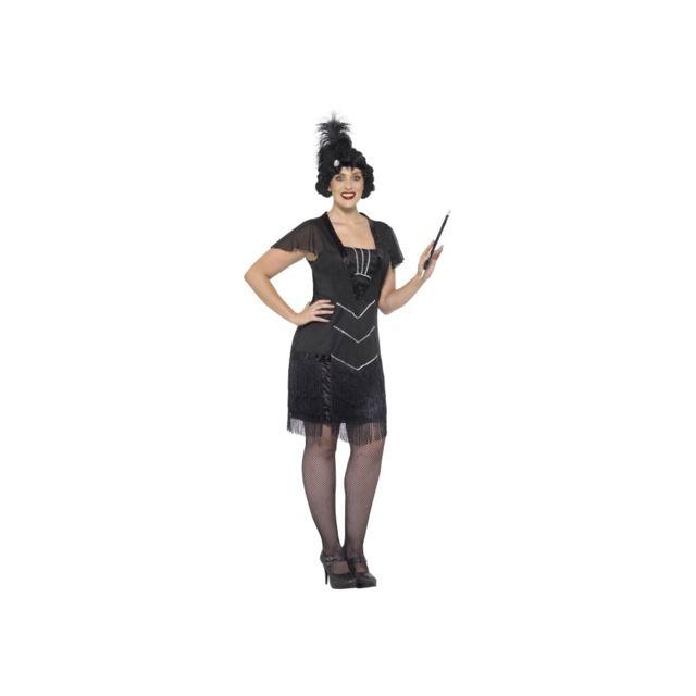 95fb8ee1890d Robe cabaret noire à franges, grande taille - pas cher Achat   Vente  Déguisement adulte - RueDuCommerce