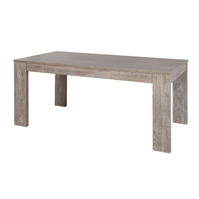 Tousmesmeubles Table de repas longueur Gris fumé 160 cm - Jacco - L 160 x l 92 x H 75