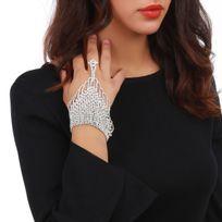 Lamodeuse - Bracelet bague argenté souple avec strass