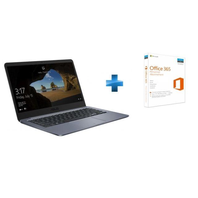 achat asus e406sa eb110t gris microsoft office 365 personnel ordinateur portable 14. Black Bedroom Furniture Sets. Home Design Ideas