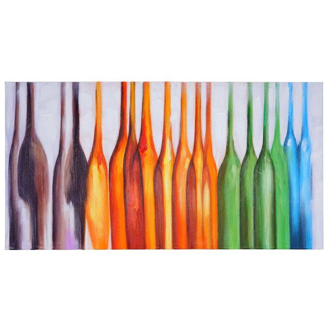 Mendler   Tableau à Lu0027huile, Bouteilles, Peint à La Main à 100%, Toile De Décoration  Murale Xl ~ 135x70cm   Pas Cher Achat / Vente Tableaux, Peintures   ...