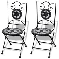 Rocambolesk - Superbe Jeu de 2 chaises mosaïques de bistro noire / blanche Neuf