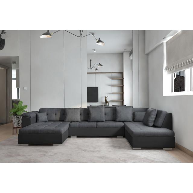 MEUBLESLINE Canapé d'angle XXL en U Atrium droit gris noir