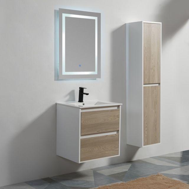 Rue Du Bain - Meuble de salle de bain 2 Tiroirs - Bois - Vasque ...