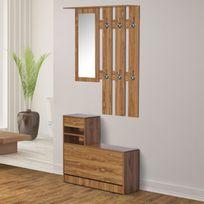 HOMCOM - Ensemble de meubles d'entrée design contemporain : meuble chaussures, miroir et panneau porte-manteau marron imitation bois neuf 46