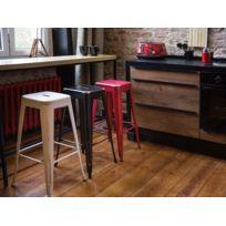 Beliani - Tabouret de bar - Chaise de bar design - 76 cm - rouge et doré - Cabrillo