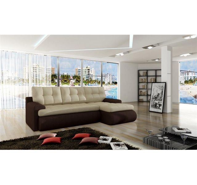 CHLOE DESIGN Canapé d'angle convertible Tissu Sana - Angle gauche - beige et chocolat