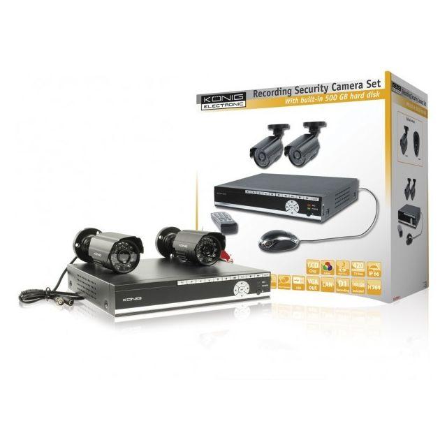Konig König ensemble de sécurité avec Dvr 500 Gb et 2 caméras pas ... 3ad067ad25af