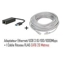 Cabling - Adaptateur Usb v3.0 vers réseau Rj45 10/100/1000 Mbps + Cable Rj45 Cat6 20 mètres