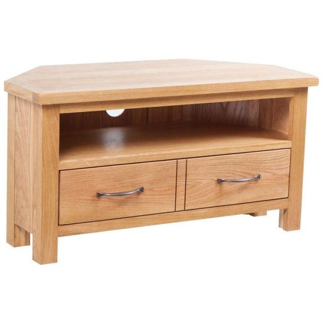 Helloshop26 Meuble télé buffet tv télévision design pratique avec tiroir 88 cm bois de chêne solide 2502105