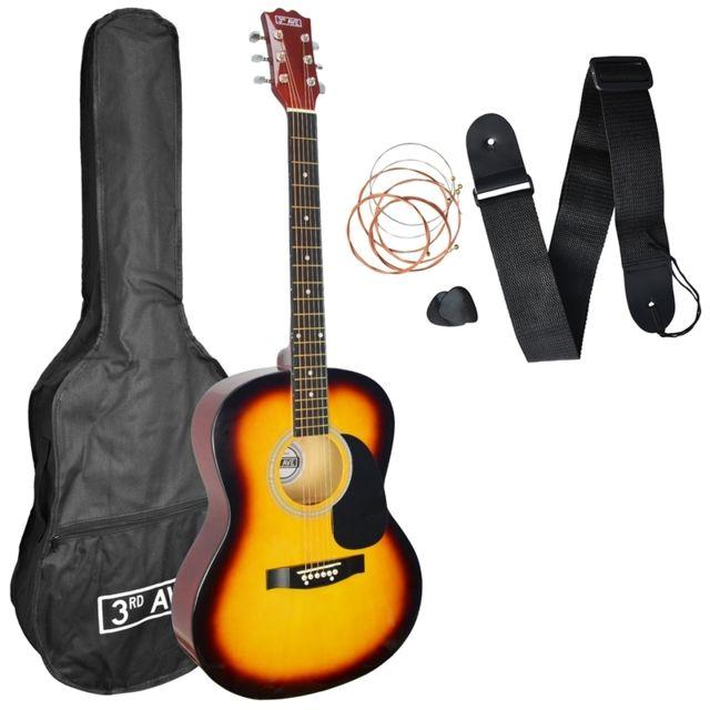 3rd Avenue Pack Guitare Acoustique Avec Sangle Mediators Et Cordes Sunburst Pas Cher Achat Vente Packs Guitares Rueducommerce