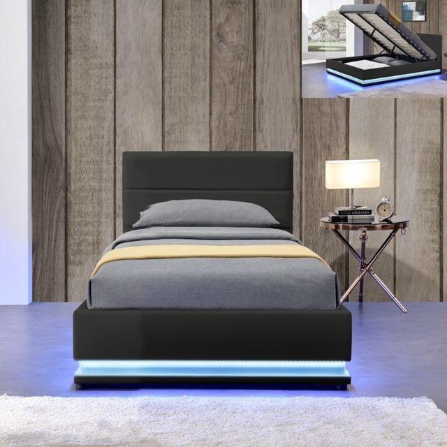 MEUBLER DESIGN Lit led avec coffre de rangement AVA - Noir - 90x190