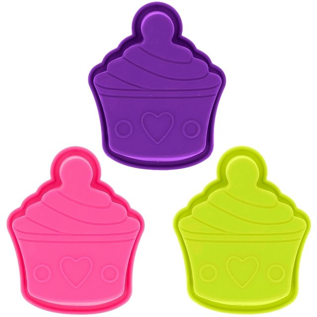 Promobo Lot 3 Moules à Gateau en Silicone Forme Cupcakes Design Gourmand
