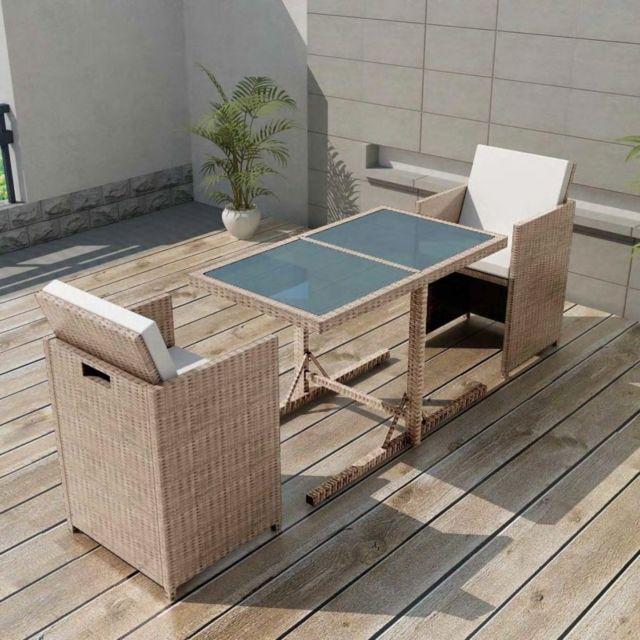Vidaxl Ensemble de mobilier de jardin 7 pcs Poly Rotin Gris/Beige | Beige