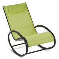 Blumfeldt - Retiro Fauteuil à bascule Rocking chair aluminium & polyester - vert