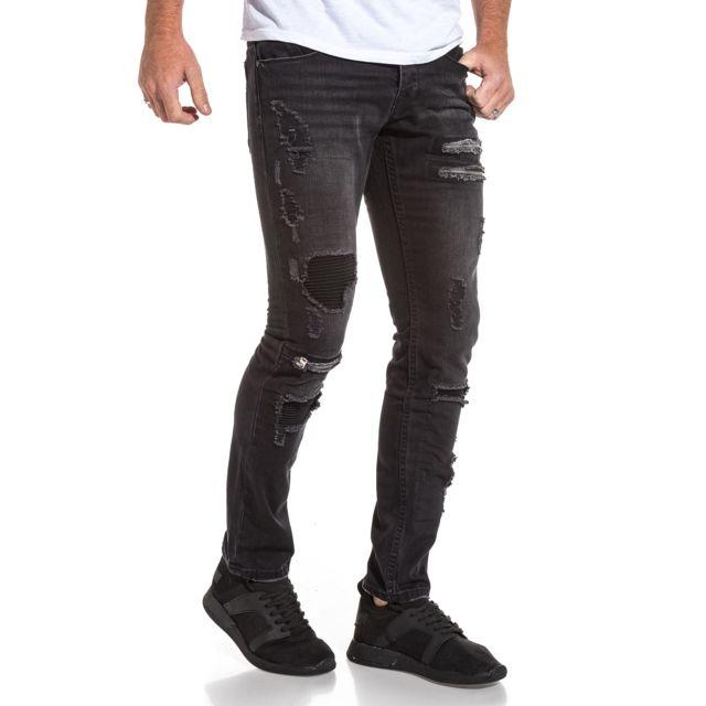 7528ce374 BLZ Jeans - Jeans noir homme délavé déchiré et zips fantaisie - pas ...