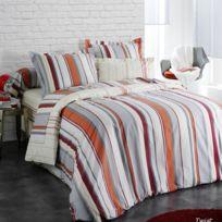 100POURCENTCOTON - Housse de couette 260x240 cm + 2 taies d'oreiller 65 x 65cm fabrication francaise Twist Tex 100% pur coton
