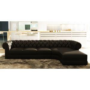 canap d 39 angle noir capitonn chesterfield avec m ridienne achat vente canap s pas chers. Black Bedroom Furniture Sets. Home Design Ideas
