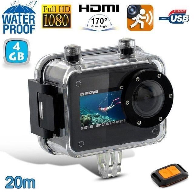 Yonis Caméra plongée camera sport Full Hd 1080P étanche 20m Télécommande 4 Go