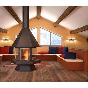 focgrup chemin e centrale hexagonale avec porte vitr e laiton 16kw rdmt 78 foyer en acier fcg. Black Bedroom Furniture Sets. Home Design Ideas