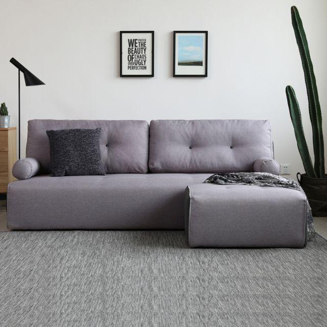 Concept Usine Brooklyn gris clair/gris foncé : Canapé modulable 3 places + 1 pouf gris clair/gris foncé
