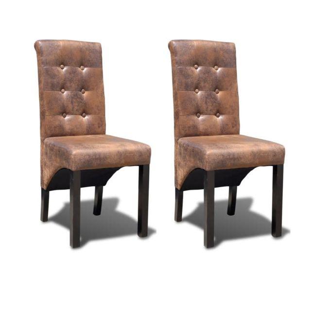 Chaise de salle à manger 2 pcs Marron | Brun