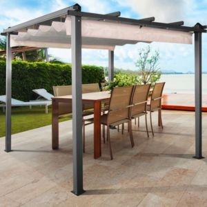 idmarket pergola toit r tractable crue tonnelle 4 pieds 3x4m pas cher achat vente pergola. Black Bedroom Furniture Sets. Home Design Ideas