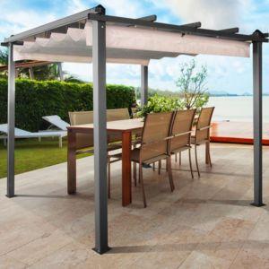idmarket pergola toit r tractable crue tonnelle 4 pieds. Black Bedroom Furniture Sets. Home Design Ideas