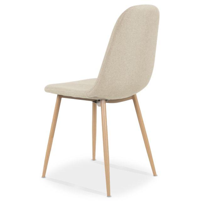 Lot de 4 chaises scandinaves Bali tissu Beige pas cher